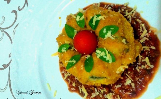 gateau de pates bolognaise chaud patate
